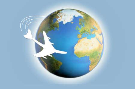 an illustration of airplane circling the globe Reklamní fotografie