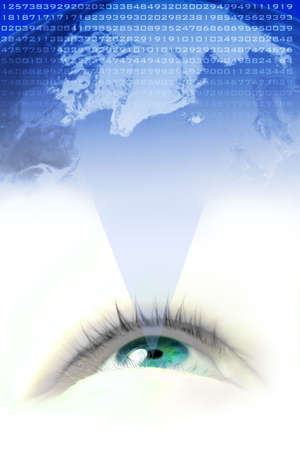 binary globe: floating  blue eye projecting the world and its numbers Stock Photo