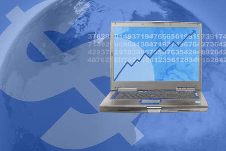 globally:  computer showing rising stock in world business Stock Photo