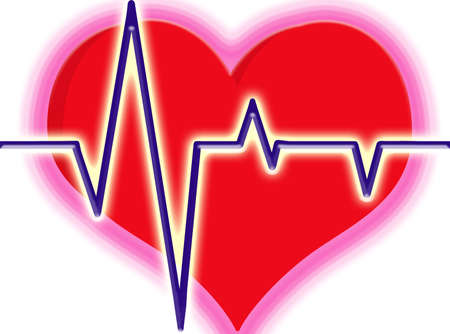atrial: illustration of red heart with lines being heart beat