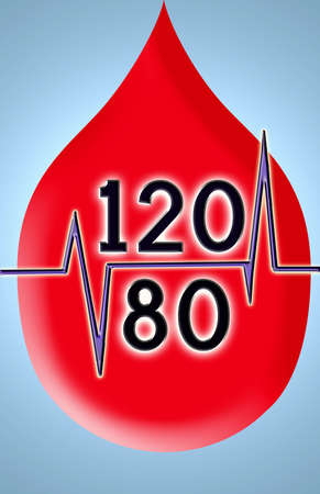 systolic: drop of blood with optimal blood pressure amount of 120 over 80 Stock Photo