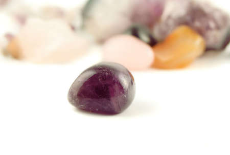 amethyst (silicon dioxide) the crystal of calmeness and cleansing in new age healing Stock Photo