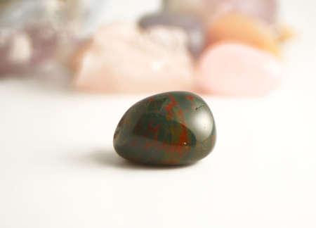 규소: bloodstone  (silicon dioxide) the crystal of detoxifying and purifying in new age healing 스톡 사진