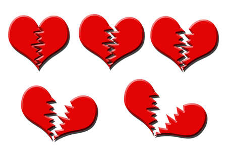 parting: Illustration of five different stages of heart break