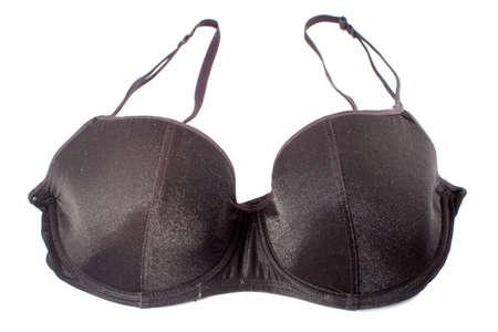 undergarment: sexy black bra isolated on white background Stock Photo
