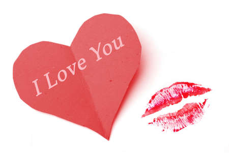 red lip kiss and i love you heart note