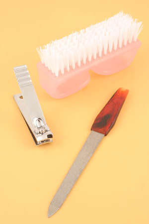 clippers: nail file, clippers and brush, the essentials for nail care Stock Photo