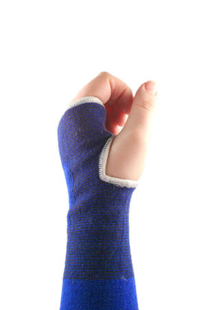elastic: sprained wrist wrapped in a elastic cloth for support