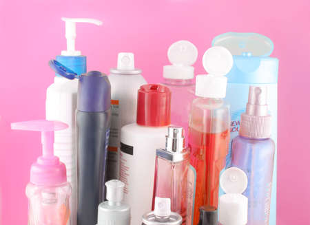 different beauty product bottles showing their nozzles