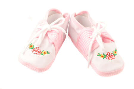 little  girls pink booties appropriate for newborn Banco de Imagens - 678496