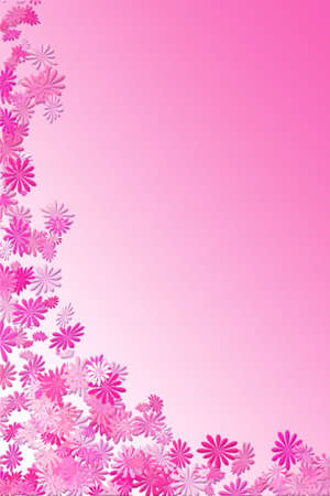 fuschia: pink falling flower frame to be used as border or background