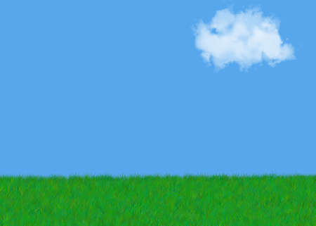 green grass against a beautiful blue cloudy sky (with space for print)