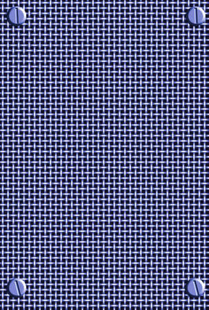 blue metal mesh  background with bolts in corners