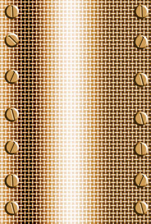 mesh: copper metal mesh  background with bolts in corners Stock Photo