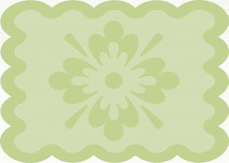 doiley: wavy khaki green colored doilie background with design in the middle Stock Photo