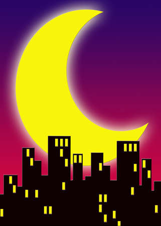 an illustration of city buildings at night with large glowing moon