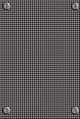 silver metal mesh  background with bolts in corners