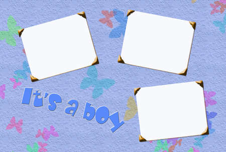 inserts:  boy blank photo inserts for stationary and scrapbooking