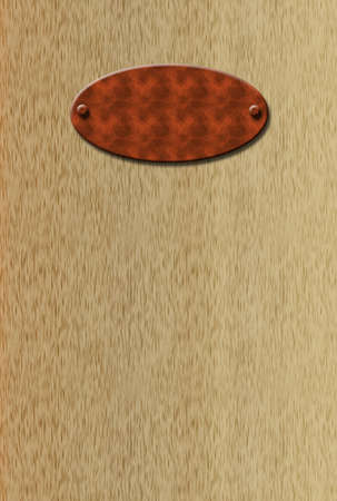 screwed: illustration of blank 3d  doorplate screwed into oak door
