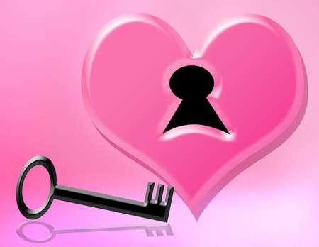 corazon rosa: llave negra y coraz�n rosado para el d�a de los valentines Foto de archivo
