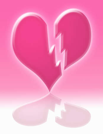 breaking: a pink glowing breaking  heart with reflection