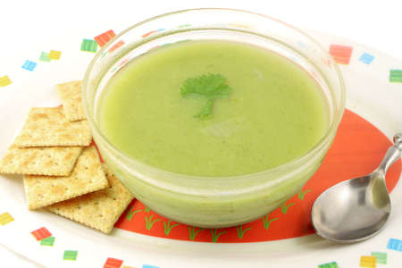 lunchtime: delicious and healthyvegetarian cream of broccoli soup Stock Photo