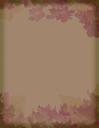 retro:  vintage styled burgundy and brown  leaves motif paper background