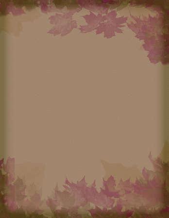 vintage background:  vintage styled burgundy and brown  leaves motif paper background
