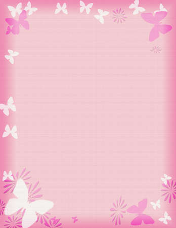 pink butterfly border or frame appropriate for stationary Banco de Imagens - 726798