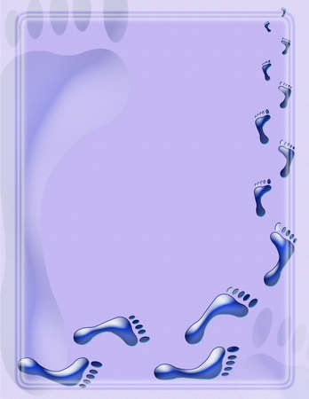 human footprints illustration background appropriate for stationary