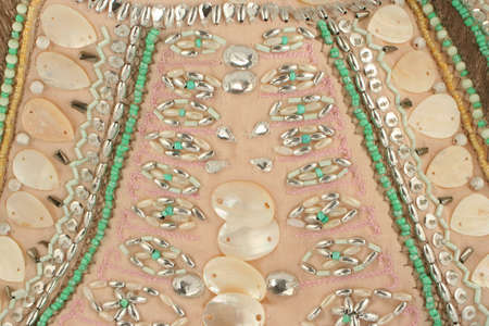 material: embroidered material with shells, beads, and sequins