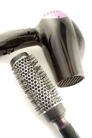 salon hair dryer and bristle brush for hairstylling