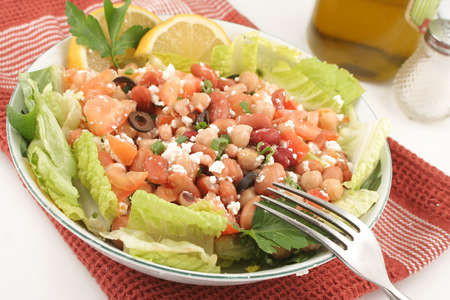fresh and healthy mediterranean style bean salad