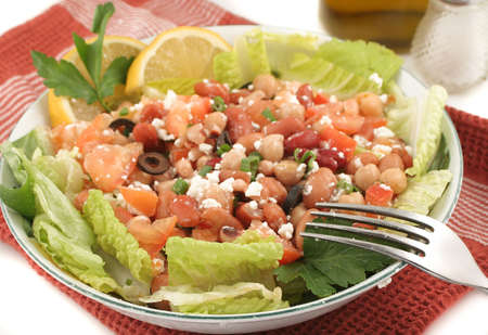 fresh and healthy mediterranean style bean salad