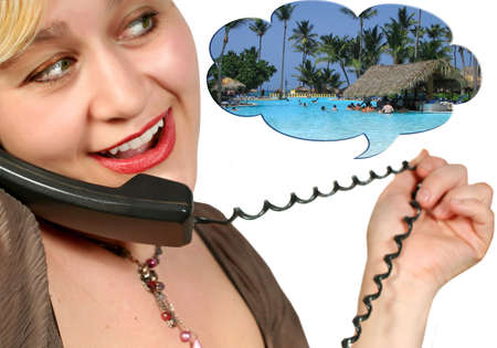 chatting on the phone about travelling to the Caribbean photo