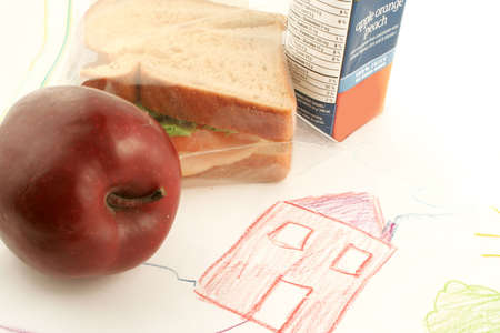 bagged: whole wheat sandwich, apple and juice (a healthy lunch) on top of child drawing in school