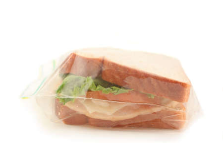 isolated whole wheat sandwich in clear plastic bag