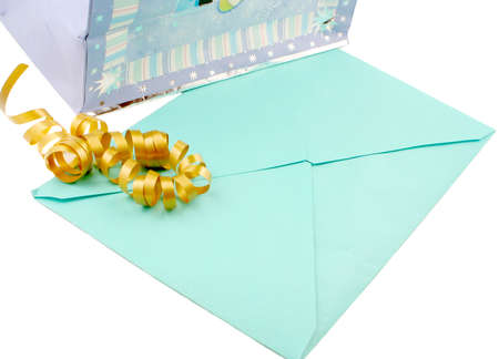 unopened: gift bag and unopened greeting card with ribbon
