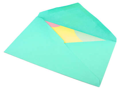 isolated greeting card inside green envelope stationary Stock Photo - 776522