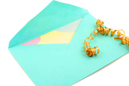 isolated greeting card inside green envelope stationary Stock Photo - 776523