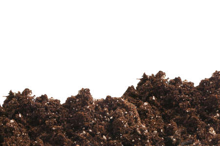 earthly: garden dirt with fertilizer on a white background Stock Photo