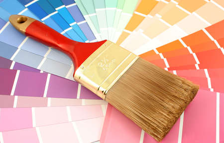 home decorating: rainbow paint swatches, and small paint roller for home decorating