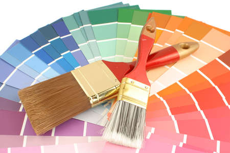 purples: rainbow paint swatches, and  paint brushes for home decorating