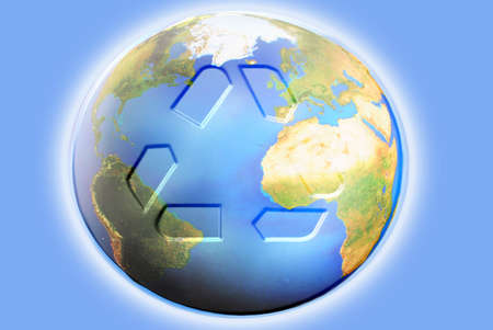 earthly: illustration of recycling symbol on the planet earth