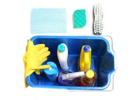 cleaning products inside bucket with gloves, cloth and  sponge