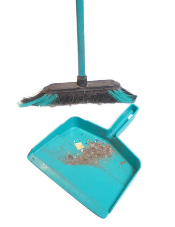 broom and dustpan full of dirt after a sweeping Stock Photo - 964011