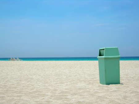 varadero: garbage can at Varadero beach in Cuba helping keep the environment clean