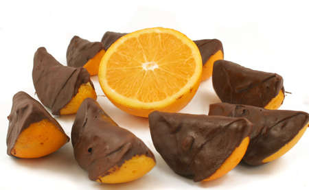 dipped: sections of oranges dipped in dark chocolate