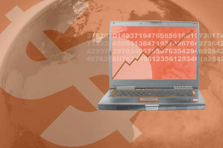 sums:  computer showing rising stock in world business Stock Photo
