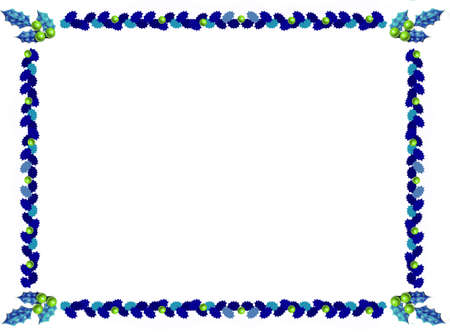 holly christmas border leaves in blue Stock Photo - 1615286